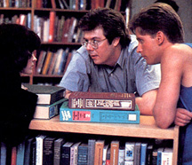 John Hughes with Alley Sheedy and Emilio Estevez while making 1985's The Breakfast Club.